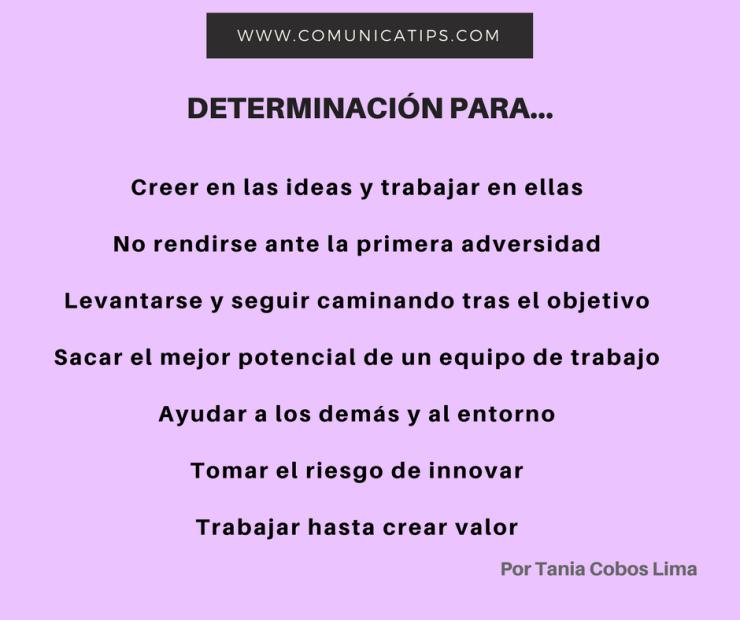 Determinación. Creer en las ideas y trabajar en ellasNo rendirse ante la primera adversidadLevantarse y seguir caminando tras el objetivoSacar el mejor potencial de un equipo de trabajo